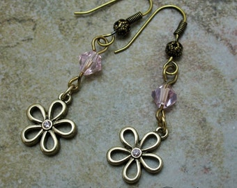 Earrings Antique Gold Filigree Dangles with Swarovski Crystal Pink Accents