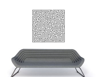 Geometric art - Hard Maze Puzzle vinyl wall decal removable sticker for kids room play room wall sticker decor (ID: 171012)