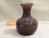 Vintage Pottery Craft blue brown vase