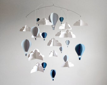 BLUE Large Hot Air Balloon Paper Baby Mobile