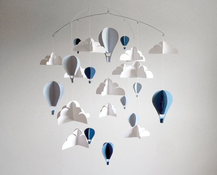 blue large hot air balloon paper baby mobile by hushandhoney. Black Bedroom Furniture Sets. Home Design Ideas