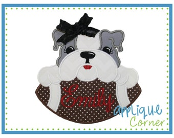INSTANT DOWNLOAD Bulldog Girl on Football applique digital design for embroidery machine by Applique Corner