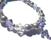 Communion Bracelet- lavender Swarovski crystal and Swarovski Pearl with cross