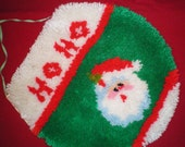 Christmas Toilet Seat Cover, Latch Hooked Rug type, Standard size,  Vintage