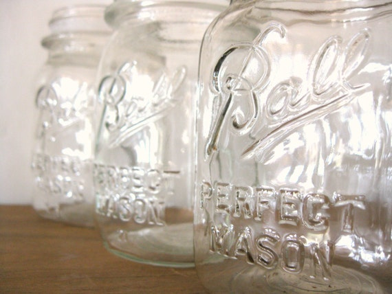 Antique Clear Mason Jar, Pint Size Ball Perfect Mason Canning Jar, Clear Pint, Ball Mason Pint