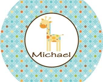 Personalized Melamine Plate Childrens Dinnerware Giraffe Toddler Plate MOD ZOO