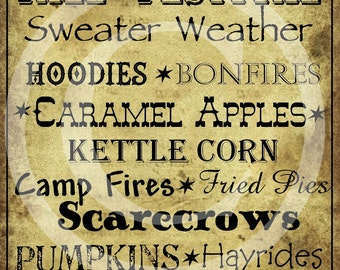 Primitive Autumn Fall Sayings Word Art Typography Label Pantry Logo Jpeg Digital File Crock  Jar Labels Pillow Hang Tags