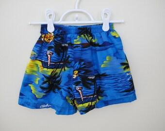 80s Boys Turquoise Hawaiian Print Elastic Waist Shorts, Size 5 to 6