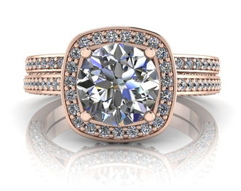 Rose Gold Wedding Set Moissanite Center Diamond Setting Engagement Ring and Matching Wedding Band  Ring Name Love Cushion Rose