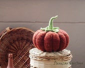 Big Pumpkin. Knitting pattern (knitted round). Autumn pattern. Halloween decoration.