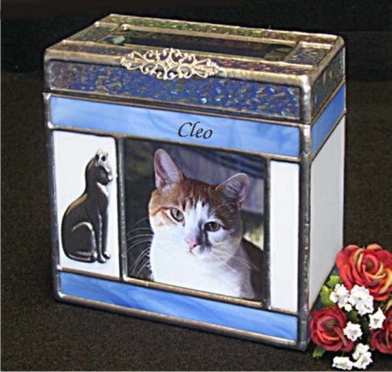 Pet Urn Small #4 Cat Cremation Urn with Photo window and one Bevel on top in Stained Glass