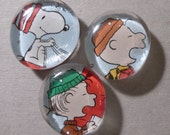 Charlie Brown, Snoopy and Linus Glass Gem Magnet Set
