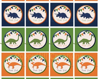 """INSTANT DOWNLOAD - DIY Printable """"Thank You"""" Dinosaur Tags - Green, Orange, Blue - For Personal or Commercial Use - Personalized"""