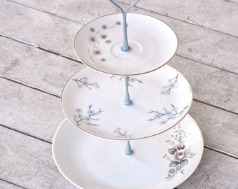 Perry: Cake Stand, Vintage China Stand, Rustic Wedding Gray Subtle, Vintage Aesthetic, Wedding Gift, Flowers, Delicate Decor