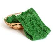 Knit Headband. Knit Head Wrap. Knitted Head Warmer. Green Headband