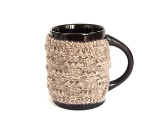 SALE - 50% Off! Coffee Cup Cozy. Knitted Mug Cozy. Hand Knit Tea Cup Cosy. Knit Cup Cozy. Pick Your Color - Gray or Dark Gray..