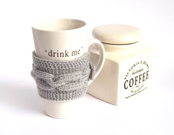 Gray Knit Coffee Cup Cozy. Knitted Mug Cozy. Hand Knit Tea Cup Cosy.