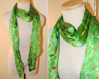 Vintage Floral Silk Scarf Green Wildflowers Adorable Long
