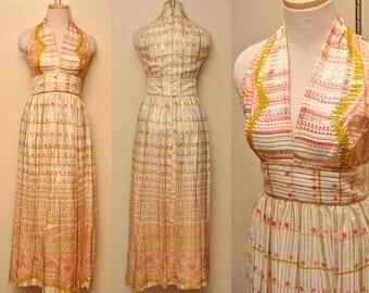 60s Designer Victor Costa Metallic Patterned Dress Full Length Medium