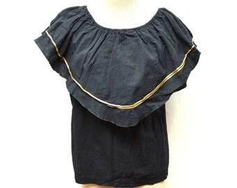 SALE 80s Black Bib Shirt Metallic Gold Trim Women's Medium