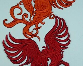 Embroidered Phoenix Motif / Patch / Badge / Applique - Lots of Colour Choices