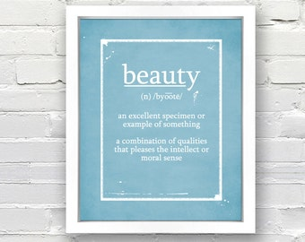 Definition of BEAUTY - Custom Typographical Poster, Personalized Gift Idea, Print or Canvas, 8x10, 11x14, 16x20, 20x30