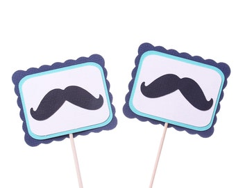 Mustache Party Cupcake Toppers / Appetizer Picks - Mustache Birthday