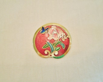 Vintage Cloisonne Flower Brooch – 1980s Sarah Coventry Signed Butterfly Floral Pin