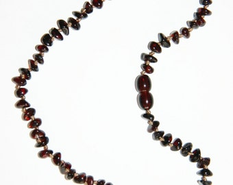 Baltic amber baby teething necklace, dark cherry color beads 38v
