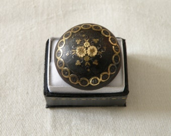 RARE Victorian Gold Inlay Pique Brooch with C Clasp