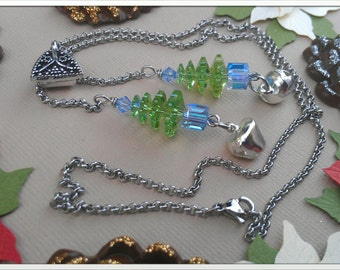 Green and Glacier Blue Christmas Tree Necklace