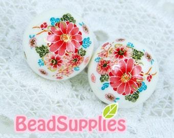 BE-TS-04012- Japanese Tensha Beads, White beads with blossoming mum, 2 pcs