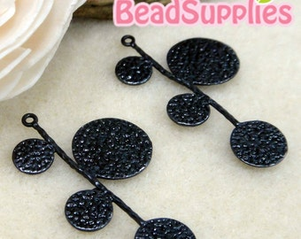 CH-ME-01203- Nickel Free, Matted Black enameled, Circle Leaf, 4 pcs