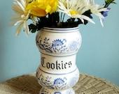 Shabby Chic Blue Onion Cookies Jar Vase Japan