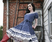 Vintage Pinup Rockabilly Square Dance Western Polka Dot Dress