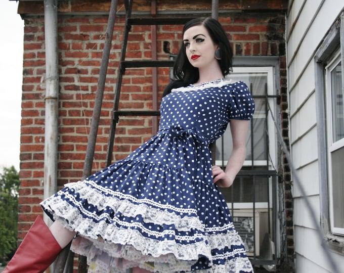 Vintage Pinup Rockabilly Square Dance Western Polka Dot Dress