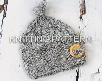 Knitting Pattern/Written Instructions -  Seed Stitch Brim Beanie Hat - Baby; Child; Adult Sizes
