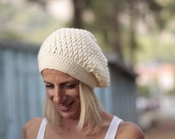 Beige Slouchy Hat