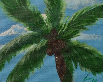 Palm Against Blue Sky Tiny Original Painting - Introductory SALE price
