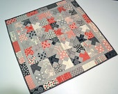 "Red, Gray and Black 30.25""x 30.25"" Modern Quilted 100% Cotton Table Topper"
