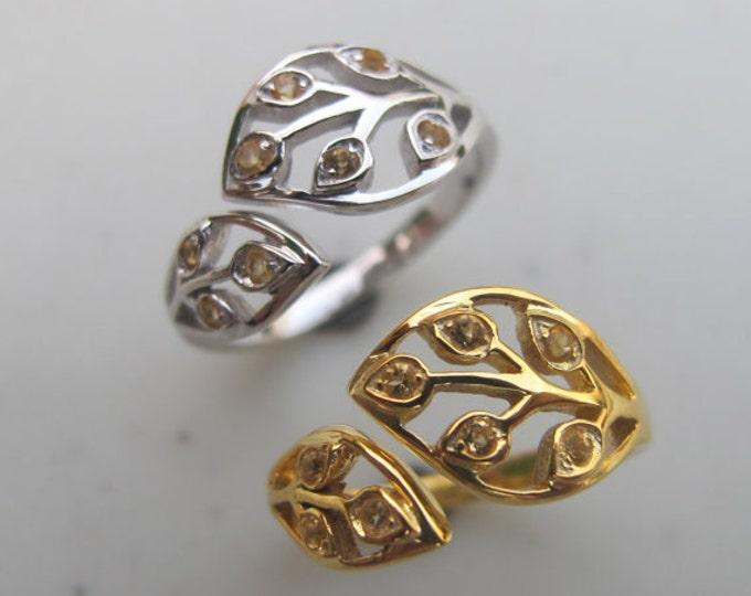 Sterling Silver Citrine Leaf Ring- November Birthstone Ring- Statement Gemstone Ring- Couple Birthstone Ring- Mother Customize Children Ring
