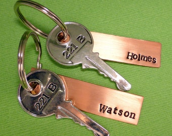 Sherlock Holmes Inspired - Holmes & Watson - A Set of 2 Hand Stamped Keychains in Aluminum or Copper