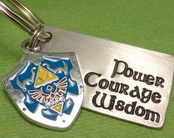 Legend of Zelda Inspired - Power. Courage. Wisdom - A Hand Stamped Keychain in Aluminum or Copper w/ Hyrule Shield Charm