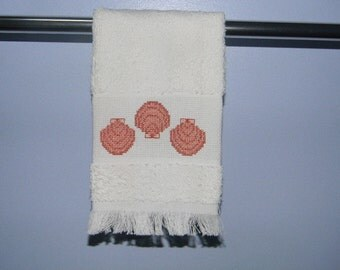 Completed Cross Stitch - Three Seashell Towel - Guest Towel - Kitchen Towel