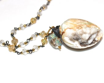 Druzy Shell Necklace Beach Necklace Seashell Necklace Drusy Necklace The Artisan Group As Seen at GBK Gift Lounge Golden Globe Awards