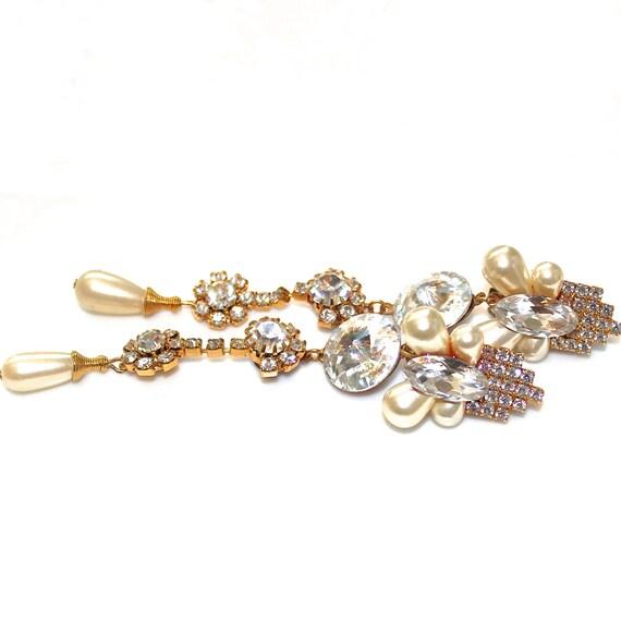 Vintage Wendy Gell 1980s Rhinestone Earrings