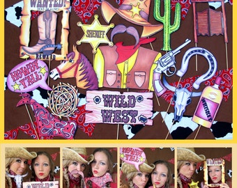 Cowboy/Cowgirl Western  photo booth props, perfect for your Wild West Adventure or your Western rodeo party