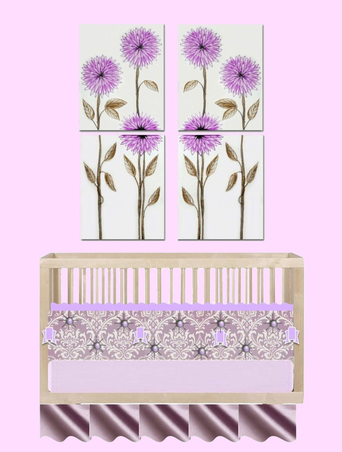 baby girl nursery floral wall decor set of 4 by handpainting. Black Bedroom Furniture Sets. Home Design Ideas