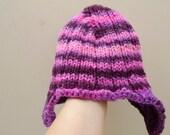 Ear flap hat girls winter hat handspun wool striped hat