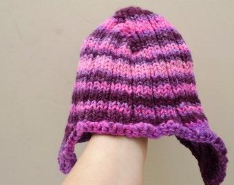 Ear flap hat, girl's winter hat, handspun wool, striped hat